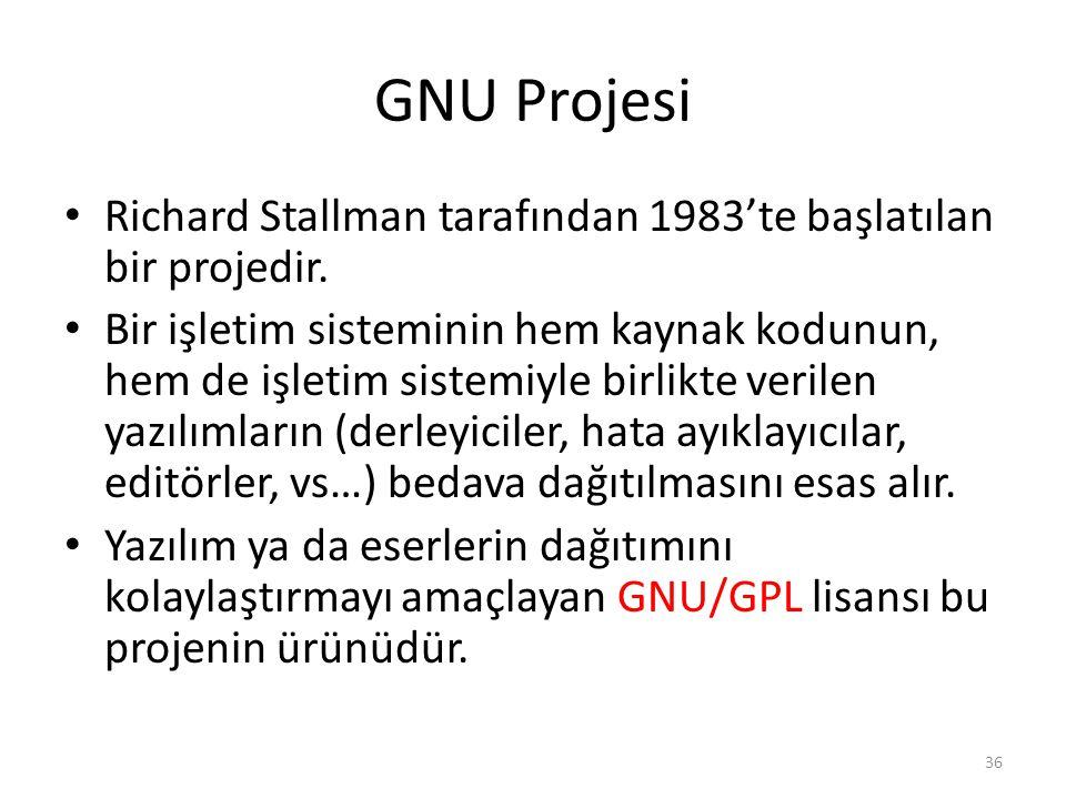 GNU Projesi Richard Stallman tarafından 1983'te başlatılan bir projedir. Bir işletim sisteminin hem kaynak kodunun, hem de işletim sistemiyle birlikte