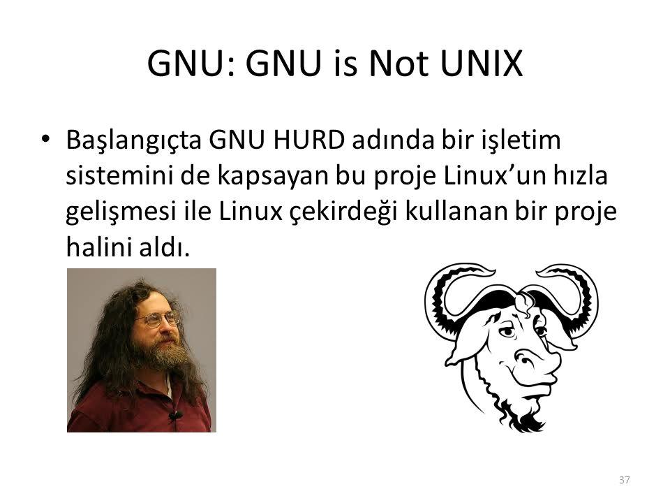 GNU: GNU is Not UNIX Başlangıçta GNU HURD adında bir işletim sistemini de kapsayan bu proje Linux'un hızla gelişmesi ile Linux çekirdeği kullanan bir