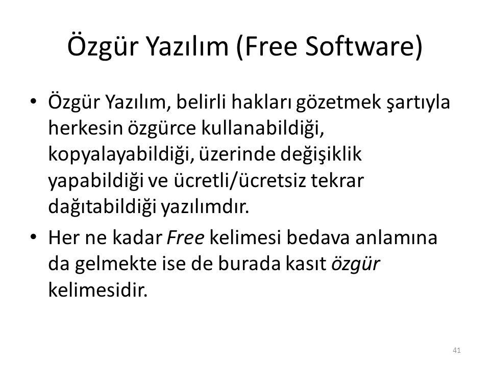 Özgür Yazılım (Free Software) Özgür Yazılım, belirli hakları gözetmek şartıyla herkesin özgürce kullanabildiği, kopyalayabildiği, üzerinde değişiklik
