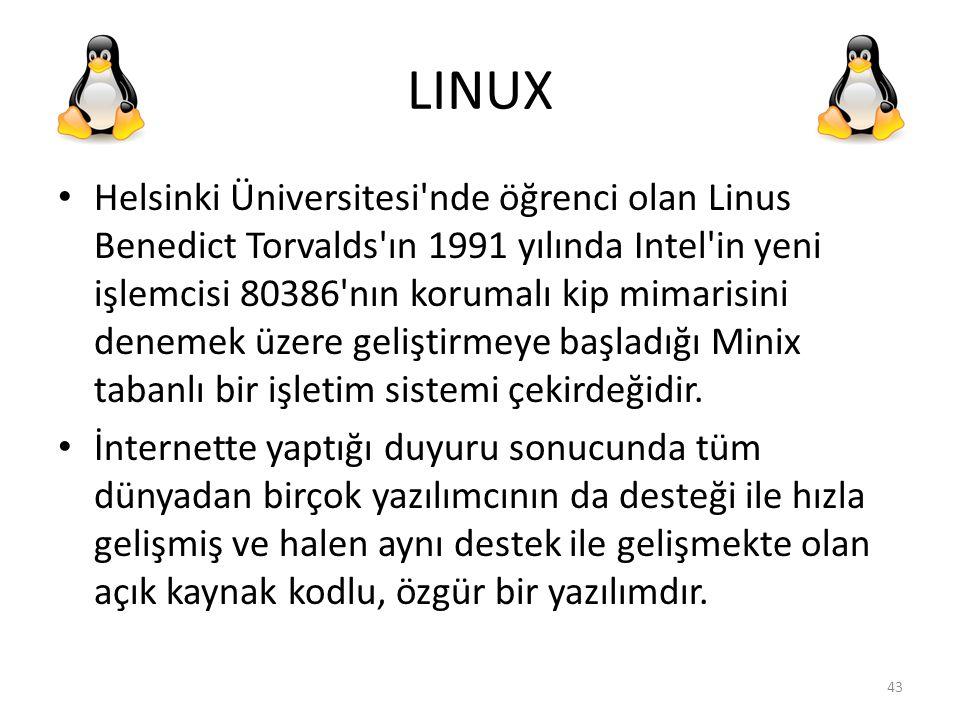 LINUX Helsinki Üniversitesi'nde öğrenci olan Linus Benedict Torvalds'ın 1991 yılında Intel'in yeni işlemcisi 80386'nın korumalı kip mimarisini denemek
