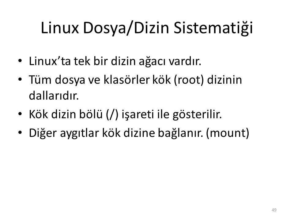 Linux Dosya/Dizin Sistematiği Linux'ta tek bir dizin ağacı vardır. Tüm dosya ve klasörler kök (root) dizinin dallarıdır. Kök dizin bölü (/) işareti il