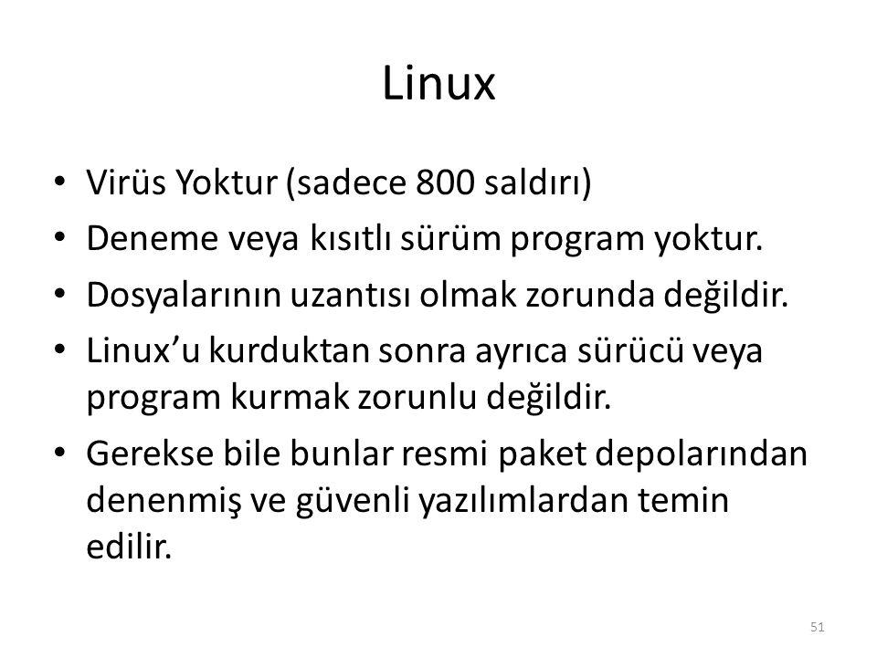 Linux Virüs Yoktur (sadece 800 saldırı) Deneme veya kısıtlı sürüm program yoktur. Dosyalarının uzantısı olmak zorunda değildir. Linux'u kurduktan sonr