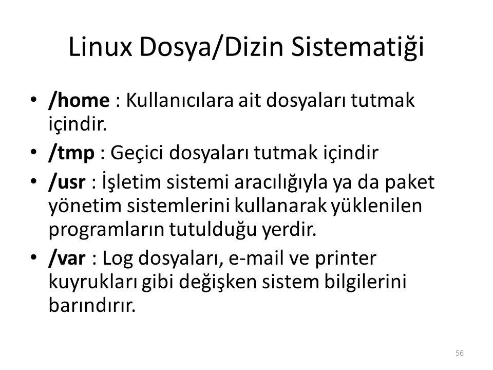 Linux Dosya/Dizin Sistematiği /home : Kullanıcılara ait dosyaları tutmak içindir. /tmp : Geçici dosyaları tutmak içindir /usr : İşletim sistemi aracıl