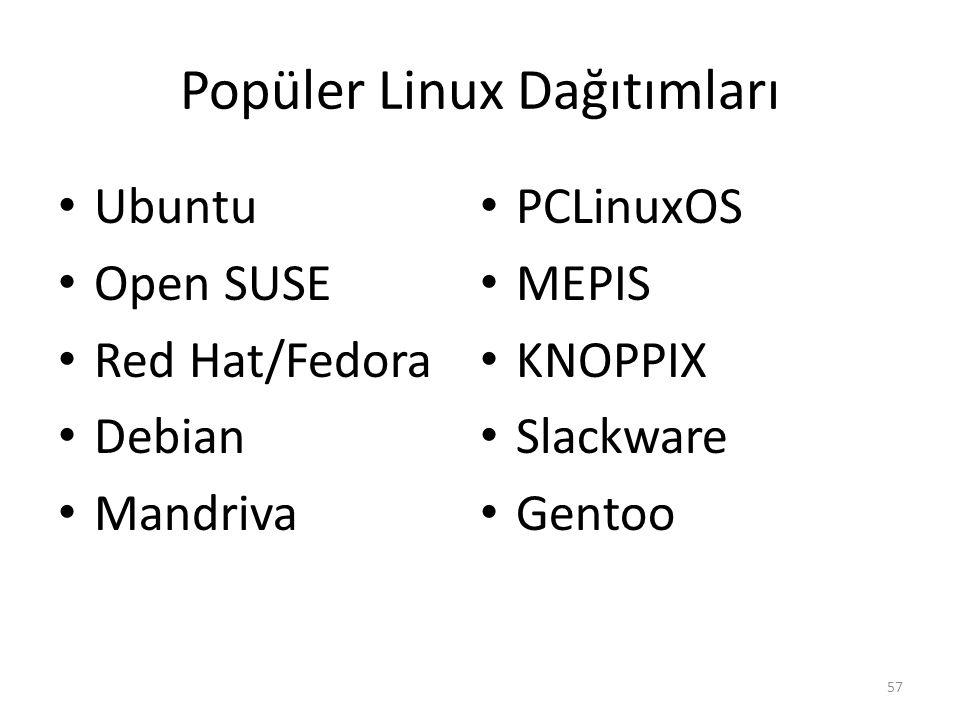 Popüler Linux Dağıtımları Ubuntu Open SUSE Red Hat/Fedora Debian Mandriva PCLinuxOS MEPIS KNOPPIX Slackware Gentoo 57
