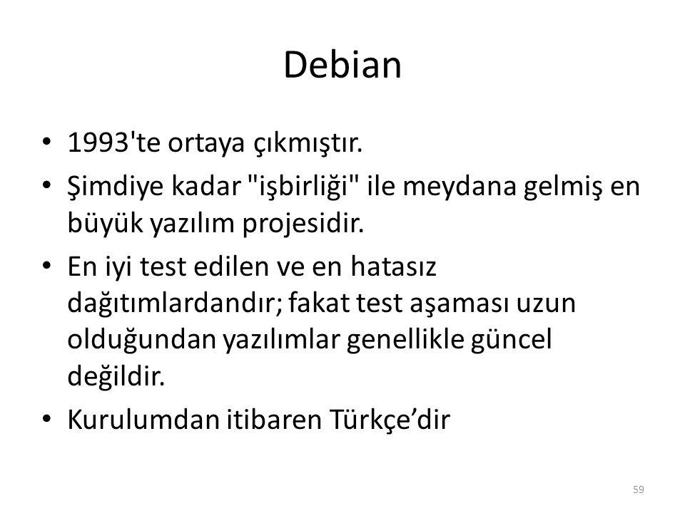 Debian 1993'te ortaya çıkmıştır. Şimdiye kadar