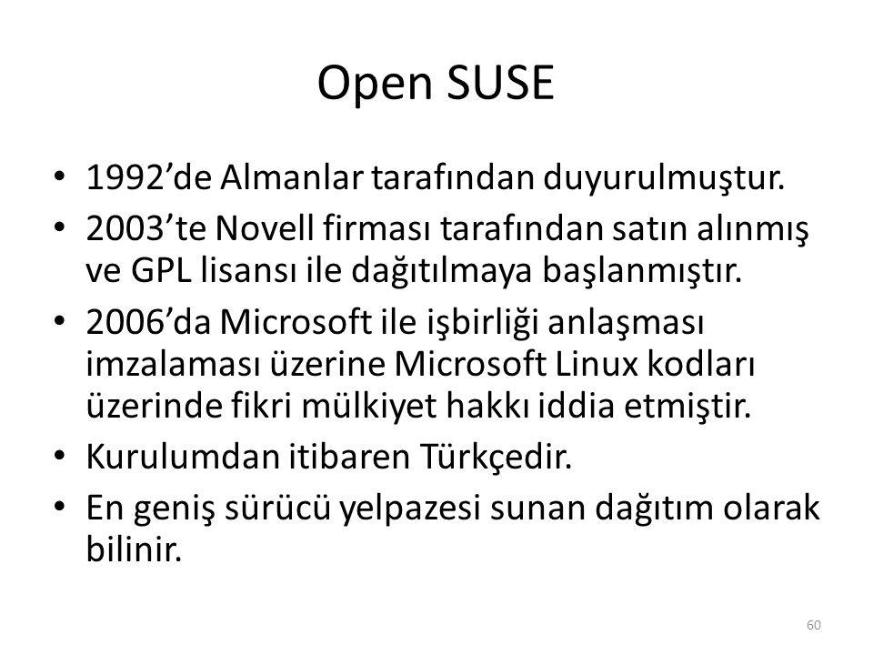 Open SUSE 1992'de Almanlar tarafından duyurulmuştur. 2003'te Novell firması tarafından satın alınmış ve GPL lisansı ile dağıtılmaya başlanmıştır. 2006