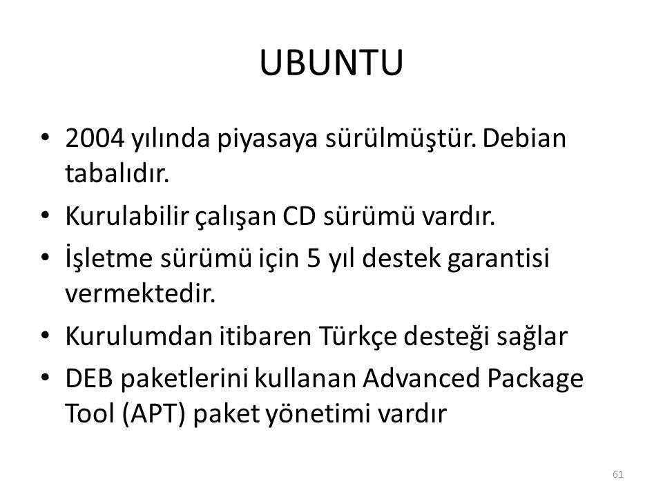 UBUNTU 2004 yılında piyasaya sürülmüştür. Debian tabalıdır. Kurulabilir çalışan CD sürümü vardır. İşletme sürümü için 5 yıl destek garantisi vermekted