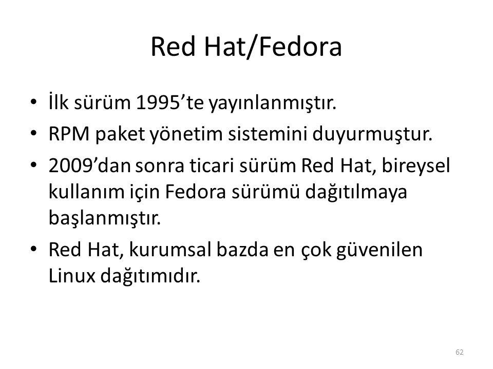 Red Hat/Fedora İlk sürüm 1995'te yayınlanmıştır. RPM paket yönetim sistemini duyurmuştur. 2009'dan sonra ticari sürüm Red Hat, bireysel kullanım için
