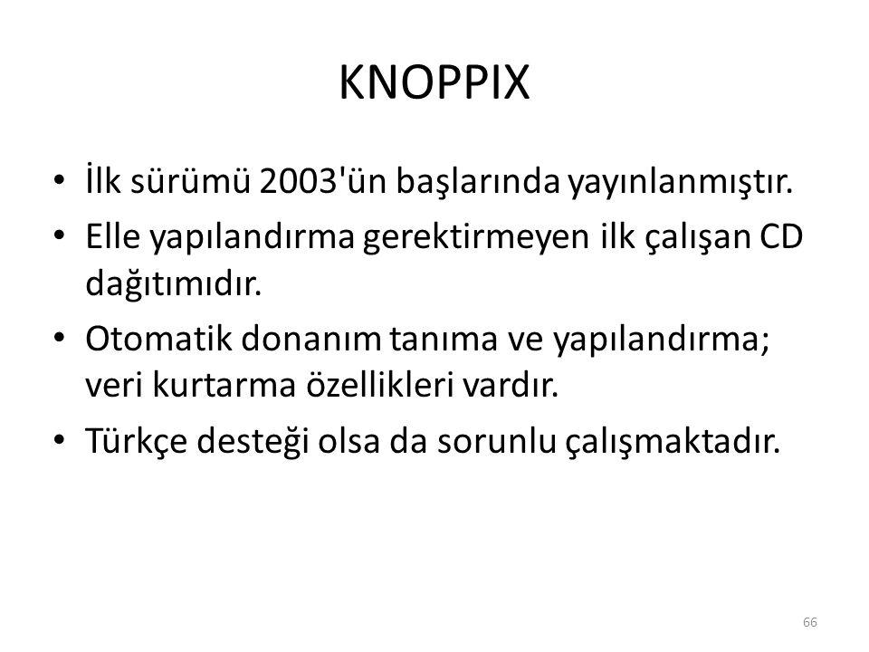 KNOPPIX İlk sürümü 2003'ün başlarında yayınlanmıştır. Elle yapılandırma gerektirmeyen ilk çalışan CD dağıtımıdır. Otomatik donanım tanıma ve yapılandı