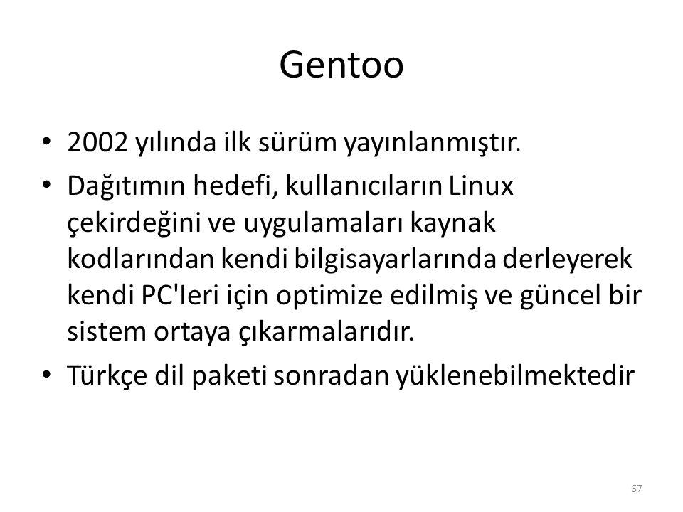 Gentoo 2002 yılında ilk sürüm yayınlanmıştır. Dağıtımın hedefi, kullanıcıların Linux çekirdeğini ve uygulamaları kaynak kodlarından kendi bilgisayarla