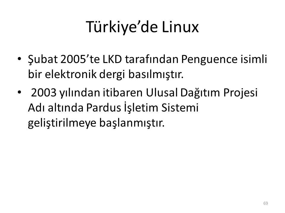 Türkiye'de Linux Şubat 2005'te LKD tarafından Penguence isimli bir elektronik dergi basılmıştır. 2003 yılından itibaren Ulusal Dağıtım Projesi Adı alt