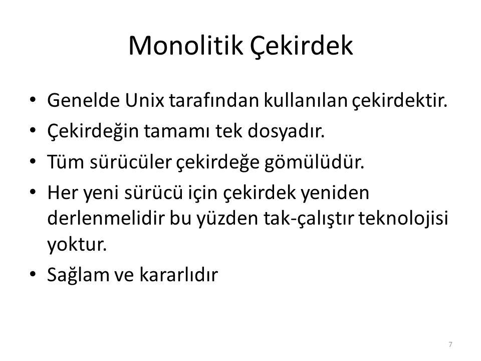 Monolitik Çekirdek Genelde Unix tarafından kullanılan çekirdektir. Çekirdeğin tamamı tek dosyadır. Tüm sürücüler çekirdeğe gömülüdür. Her yeni sürücü