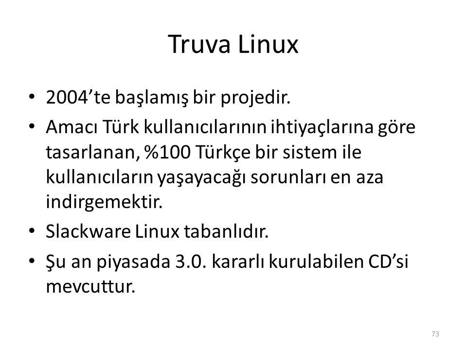 Truva Linux 2004'te başlamış bir projedir. Amacı Türk kullanıcılarının ihtiyaçlarına göre tasarlanan, %100 Türkçe bir sistem ile kullanıcıların yaşaya
