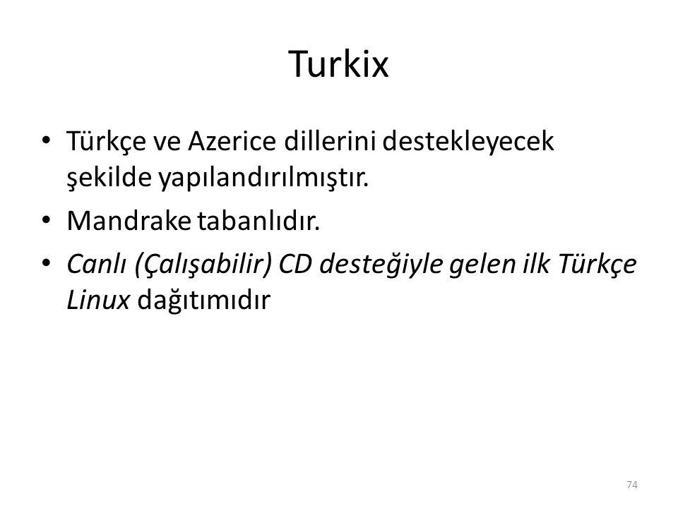 Turkix Türkçe ve Azerice dillerini destekleyecek şekilde yapılandırılmıştır. Mandrake tabanlıdır. Canlı (Çalışabilir) CD desteğiyle gelen ilk Türkçe L