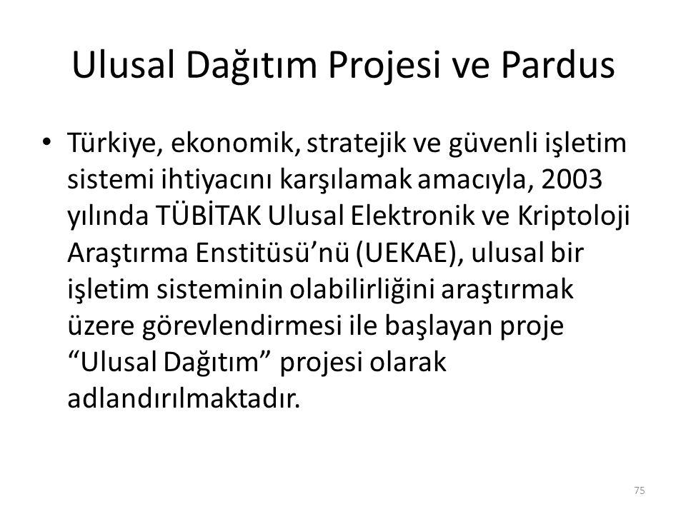 Ulusal Dağıtım Projesi ve Pardus Türkiye, ekonomik, stratejik ve güvenli işletim sistemi ihtiyacını karşılamak amacıyla, 2003 yılında TÜBİTAK Ulusal E