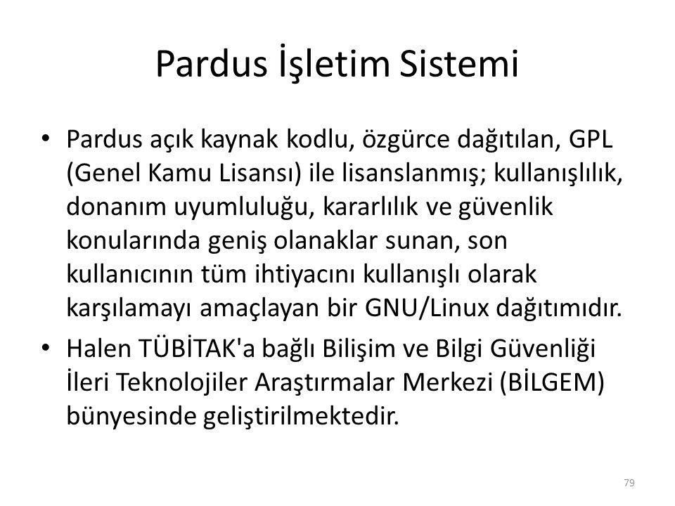 Pardus İşletim Sistemi Pardus açık kaynak kodlu, özgürce dağıtılan, GPL (Genel Kamu Lisansı) ile lisanslanmış; kullanışlılık, donanım uyumluluğu, kara