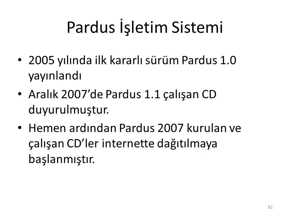 Pardus İşletim Sistemi 2005 yılında ilk kararlı sürüm Pardus 1.0 yayınlandı Aralık 2007'de Pardus 1.1 çalışan CD duyurulmuştur. Hemen ardından Pardus