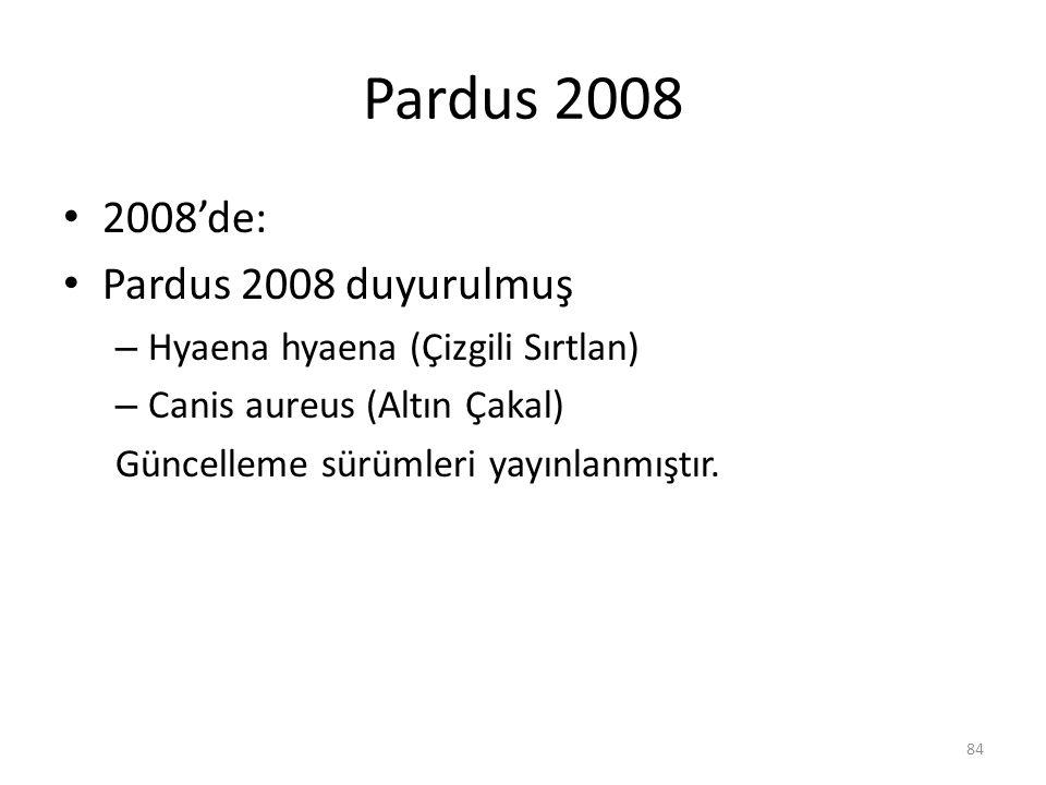 Pardus 2008 2008'de: Pardus 2008 duyurulmuş – Hyaena hyaena (Çizgili Sırtlan) – Canis aureus (Altın Çakal) Güncelleme sürümleri yayınlanmıştır. 84