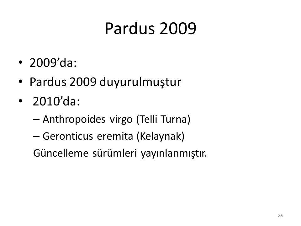 Pardus 2009 2009'da: Pardus 2009 duyurulmuştur 2010'da: – Anthropoides virgo (Telli Turna) – Geronticus eremita (Kelaynak) Güncelleme sürümleri yayınl