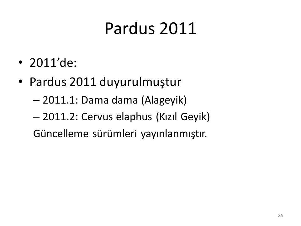 Pardus 2011 2011'de: Pardus 2011 duyurulmuştur – 2011.1: Dama dama (Alageyik) – 2011.2: Cervus elaphus (Kızıl Geyik) Güncelleme sürümleri yayınlanmışt