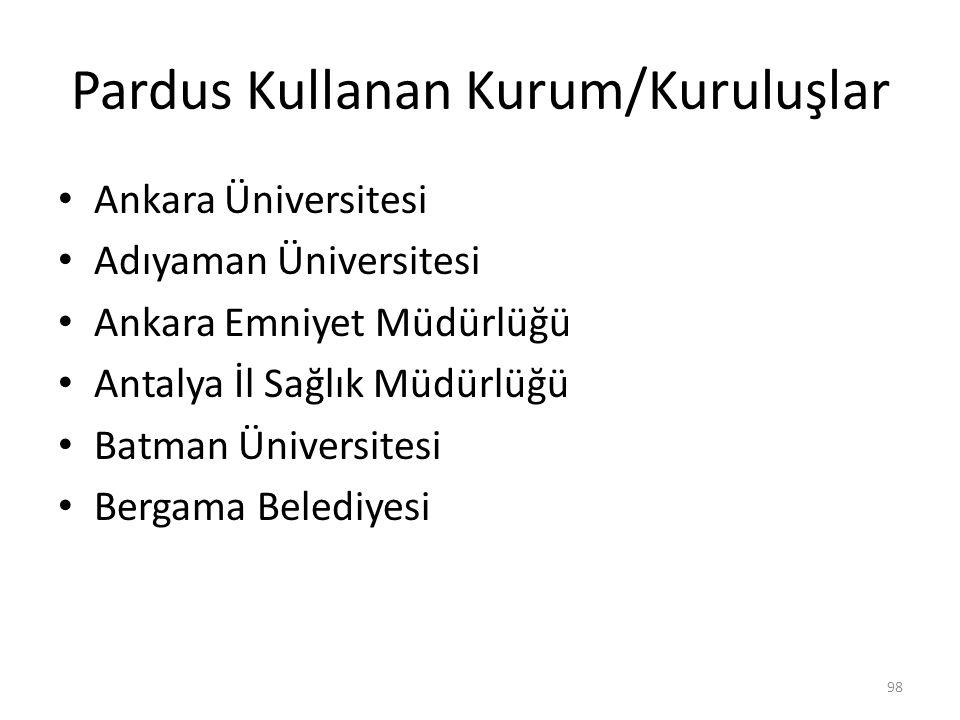 Pardus Kullanan Kurum/Kuruluşlar Ankara Üniversitesi Adıyaman Üniversitesi Ankara Emniyet Müdürlüğü Antalya İl Sağlık Müdürlüğü Batman Üniversitesi Be