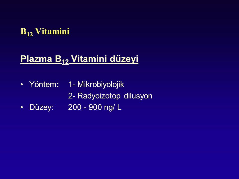 B 12 Vitamini Plazma B 12 Vitamini düzeyi Yöntem: 1- Mikrobiyolojik 2- Radyoizotop dilusyon Düzey:200 - 900 ng/ L