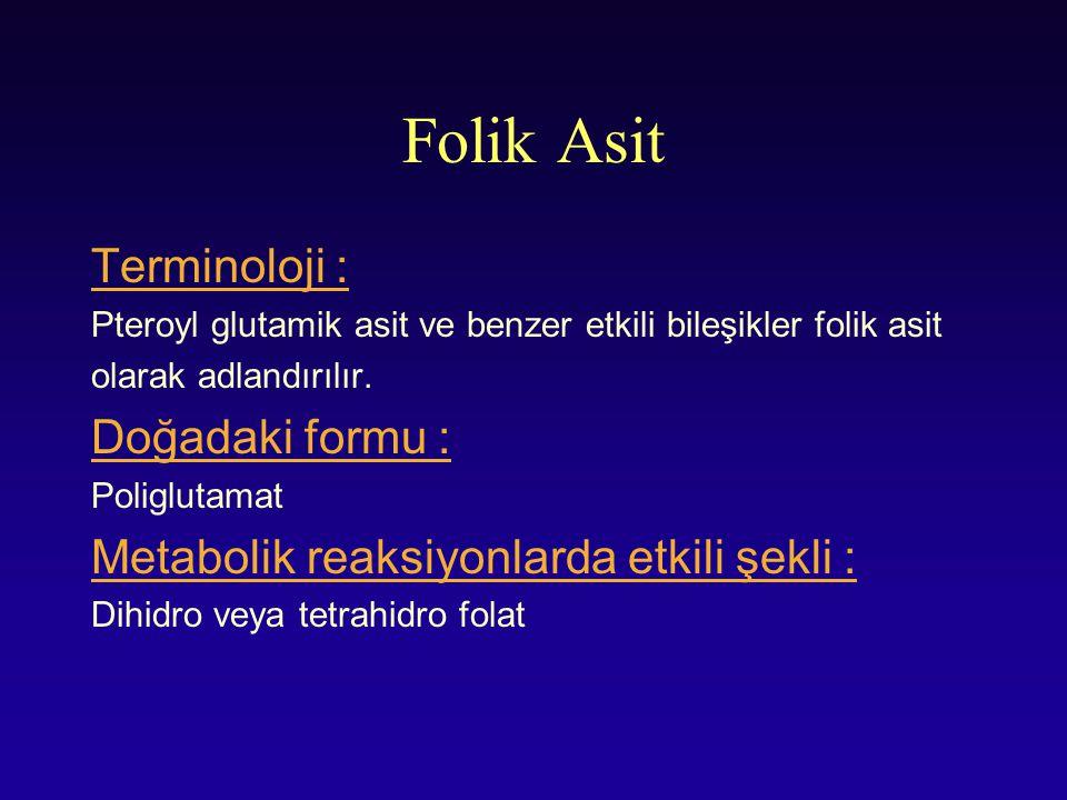 Folik Asit Terminoloji : Pteroyl glutamik asit ve benzer etkili bileşikler folik asit olarak adlandırılır. Doğadaki formu : Poliglutamat Metabolik rea