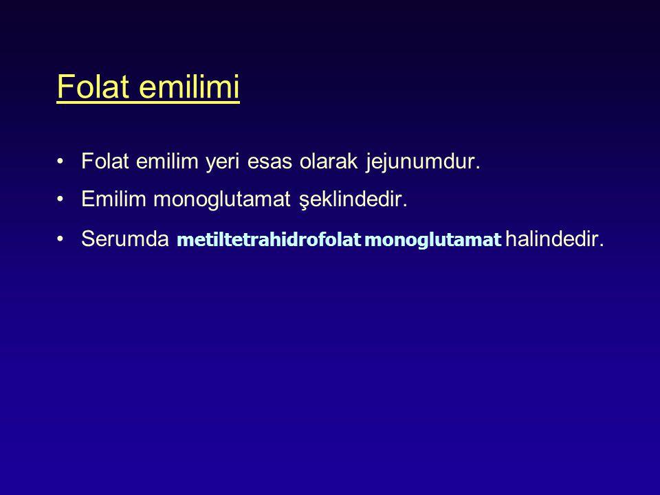 Folat emilimi Folat emilim yeri esas olarak jejunumdur. Emilim monoglutamat şeklindedir. Serumda metiltetrahidrofolat monoglutamat halindedir.