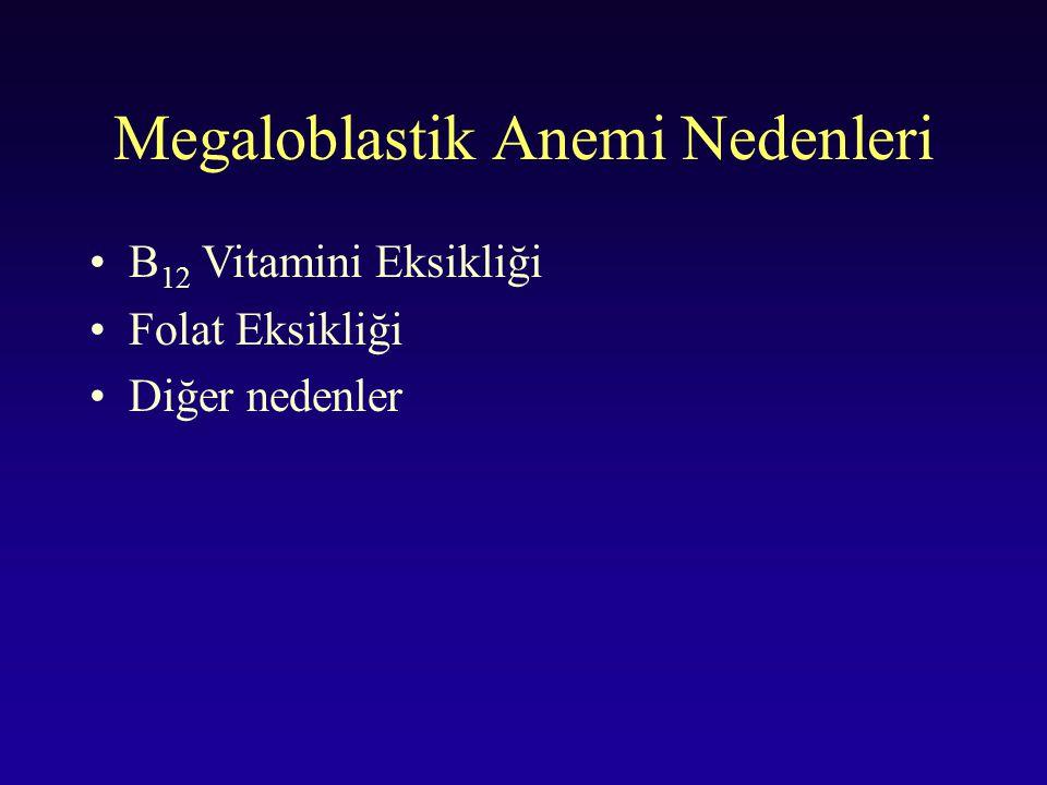 Megaloblastik Anemi Nedenleri B 12 Vitamini Eksikliği Folat Eksikliği Diğer nedenler
