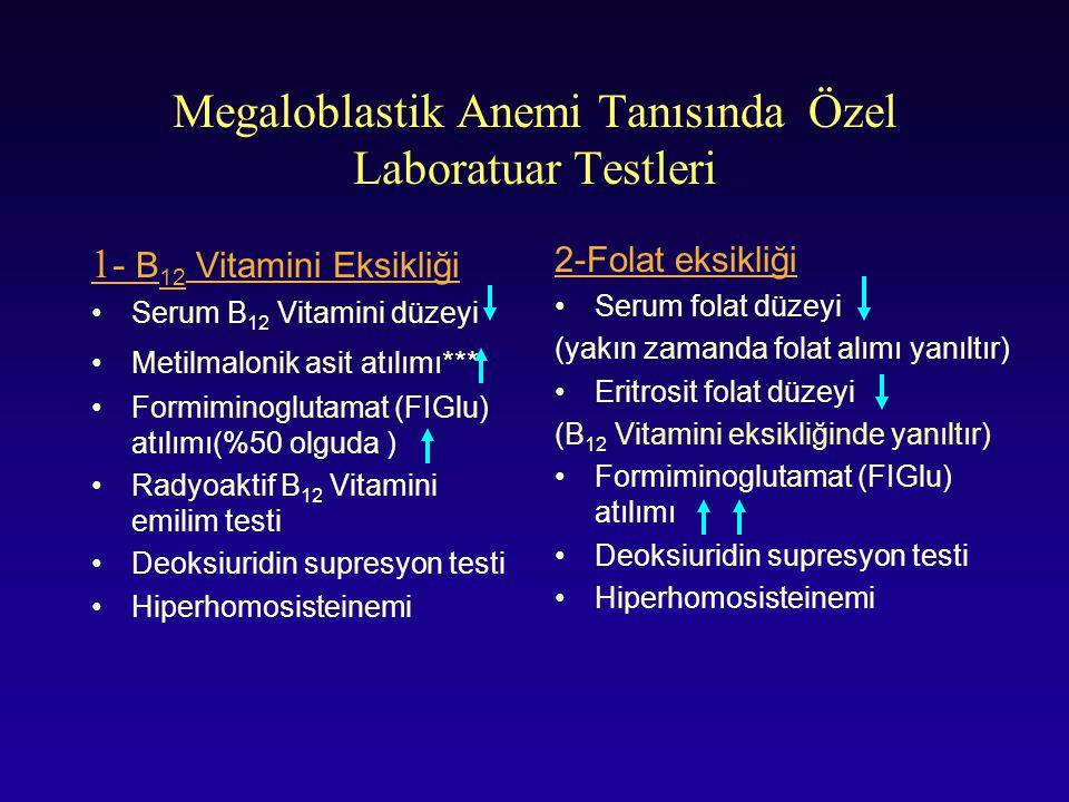 Megaloblastik Anemi Tanısında Özel Laboratuar Testleri 1- B 12 Vitamini Eksikliği Serum B 12 Vitamini düzeyi Metilmalonik asit atılımı*** Formiminoglu