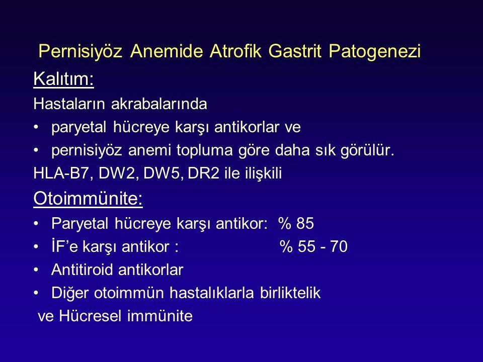 Pernisiyöz Anemide Atrofik Gastrit Patogenezi Kalıtım: Hastaların akrabalarında paryetal hücreye karşı antikorlar ve pernisiyöz anemi topluma göre dah