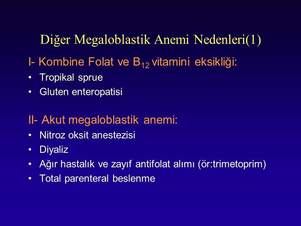 Diğer Megaloblastik Anemi Nedenleri(1) I- Kombine Folat ve B 12 vitamini eksikliği: Tropikal sprue Gluten enteropatisi II- Akut megaloblastik anemi: N