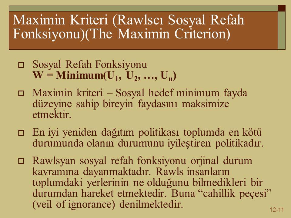 12-11 Maximin Kriteri (Rawlscı Sosyal Refah Fonksiyonu)(The Maximin Criterion)  Sosyal Refah Fonksiyonu W = Minimum(U 1, U 2, …, U n )  Maximin kriteri – Sosyal hedef minimum fayda düzeyine sahip bireyin faydasını maksimize etmektir.