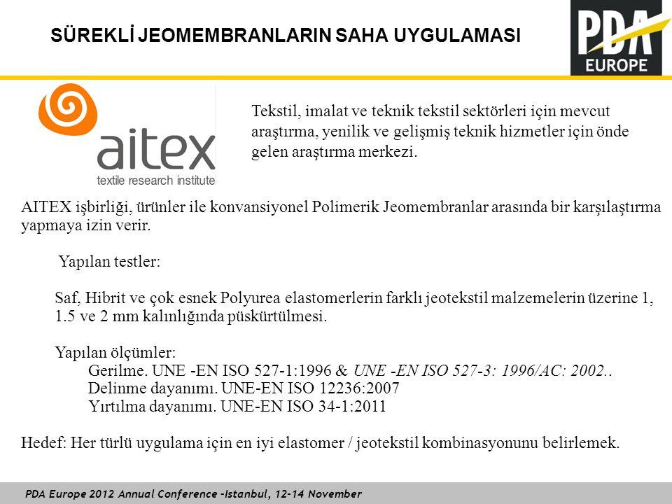 PDA Europe 2012 Annual Conference –Istanbul, 12-14 November SÜREKLİ JEOMEMBRANLARIN SAHA UYGULAMASI Tekstil, imalat ve teknik tekstil sektörleri için mevcut araştırma, yenilik ve gelişmiş teknik hizmetler için önde gelen araştırma merkezi.
