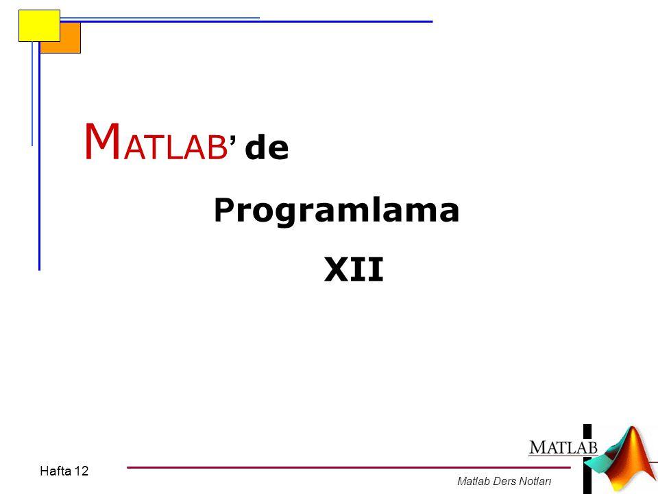 Hafta 12 Matlab Ders Notları Dizi ve Matrisler için tanımlı bazı fonsiyonlar.