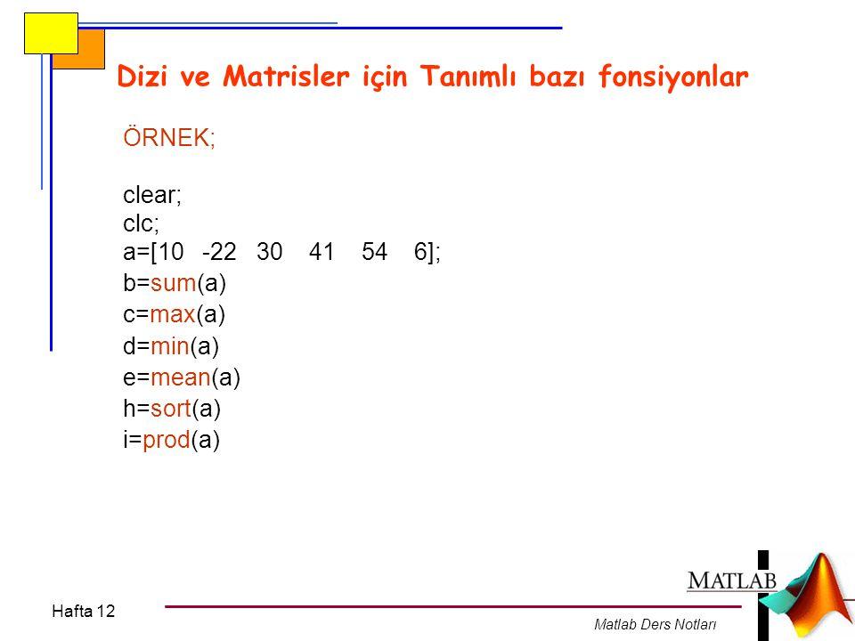 Hafta 12 Matlab Ders Notları Dizi ve Matrisler için Tanımlı bazı fonsiyonlar max(x) clear; clc; x=[3,4,6,8,5,3,7,7,8]; ebsayi=max(x); ebsayi min(x) clear; clc; x=[2,4,3;5,1,21;-1,0,6]; ebsayi=min(x); ebsayi mean(x) clear; clc; x=[12,4,3 ; 5,11,21 ; -1,10,16]; ortsayi=mean(x); ortsayi sum(x) clear; clc; x=[2,4,3 ; 5,11,21 ; -21,10,16]; seritop=sum(x); seritop