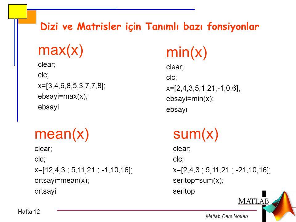 Hafta 12 Matlab Ders Notları Dizi ve Matrisler için Tanımlı bazı fonsiyonlar max(x) clear; clc; x=[3,4,6,8,5,3,7,7,8]; ebsayi=max(x); ebsayi min(x) cl