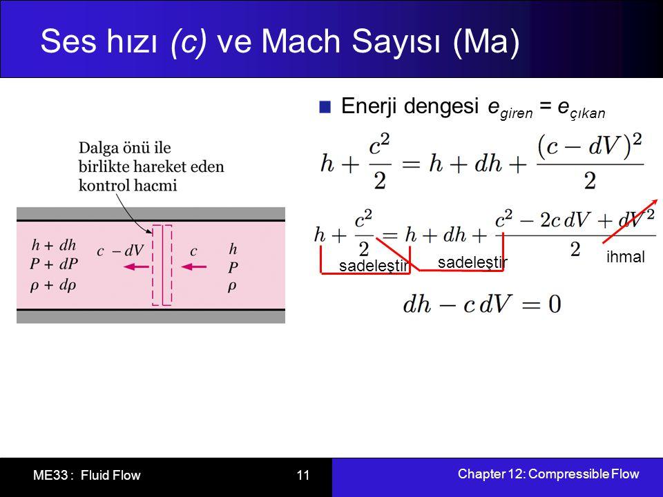 Chapter 12: Compressible Flow ME33 : Fluid Flow 12 Ses hızı (c) ve Mach Sayısı (Ma) Termodinamikten bilinen Tds bağıntısından, Bu sonucu kütle ve enerji denklemleriyle birleştirirsek, İdeal gaz için