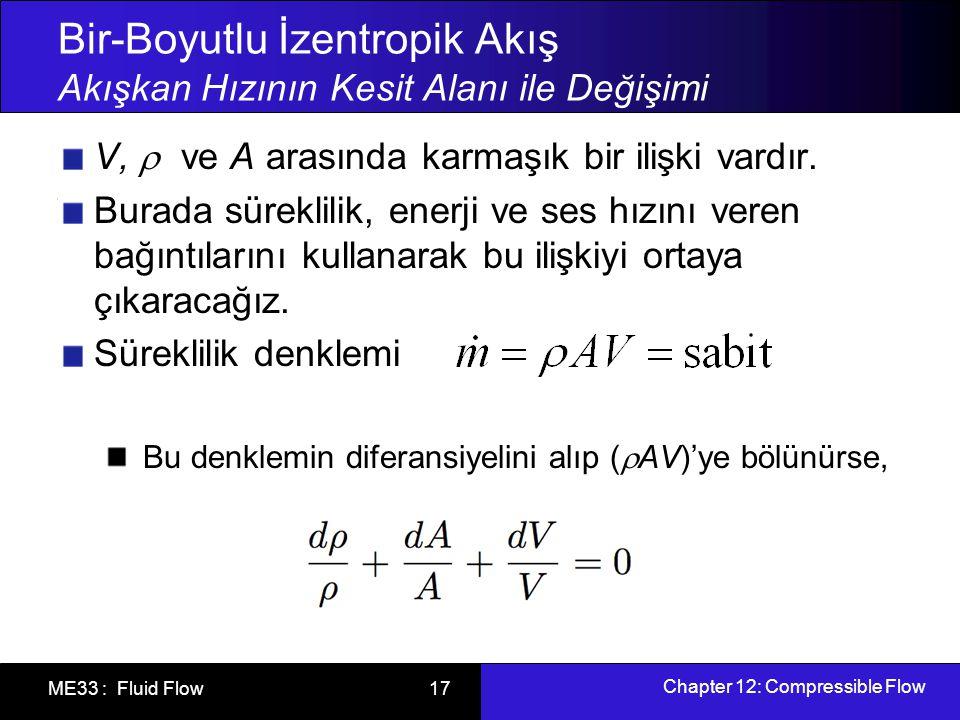 Chapter 12: Compressible Flow ME33 : Fluid Flow 18 Bir-Boyutlu İzentropik Akış Akışkan Hızının Kesit Alanı ile Değişimi Yandaki şekilde verilen işlemler yapılırsa Bernoulli denklemi elde ederiz.