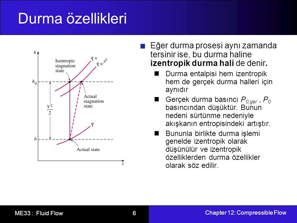 Chapter 12: Compressible Flow ME33 : Fluid Flow 7 Durma özellikleri Bir ideal gaz için h = C p T olduğundan h 0 şu şekilde de ifade edilebilir: T 0 durma sıcaklığıdır ve bir ideal gazın adyabatik olarak durdurulması halinde ulaşacağı sıcaklığı temsil eder.