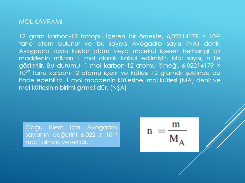 MOL KAVRAMI 12 gram karbon-12 izotopu içeren bir örnekte, 6,02214179 × 10 23 tane atom bulunur ve bu sayıya Avogadro sayısı (NA) denir. Avogadro sayıs