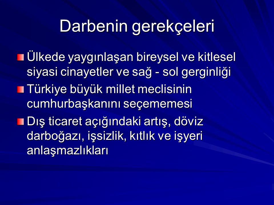 Darbenin gerekçeleri Ülkede yaygınlaşan bireysel ve kitlesel siyasi cinayetler ve sağ - sol gerginliği Türkiye büyük millet meclisinin cumhurbaşkanını seçememesi Dış ticaret açığındaki artış, döviz darboğazı, işsizlik, kıtlık ve işyeri anlaşmazlıkları
