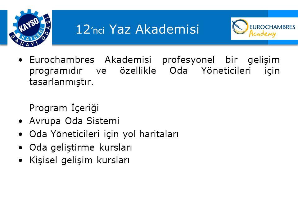 12 'nci Yaz Akademisi Eurochambres Akademisi profesyonel bir gelişim programıdır ve özellikle Oda Yöneticileri için tasarlanmıştır. Program İçeriği Av
