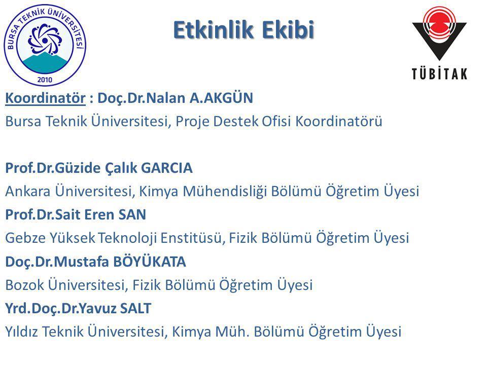 Etkinlik Ekibi Koordinatör : Doç.Dr.Nalan A.AKGÜN Bursa Teknik Üniversitesi, Proje Destek Ofisi Koordinatörü Prof.Dr.Güzide Çalık GARCIA Ankara Üniver
