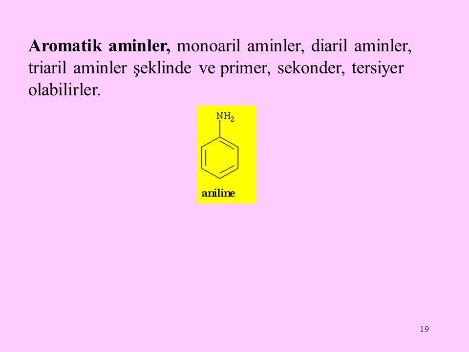 19 Aromatik aminler, monoaril aminler, diaril aminler, triaril aminler şeklinde ve primer, sekonder, tersiyer olabilirler.