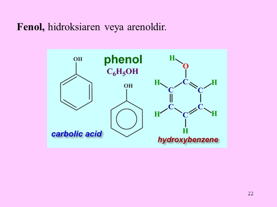 22 Fenol, hidroksiaren veya arenoldir.