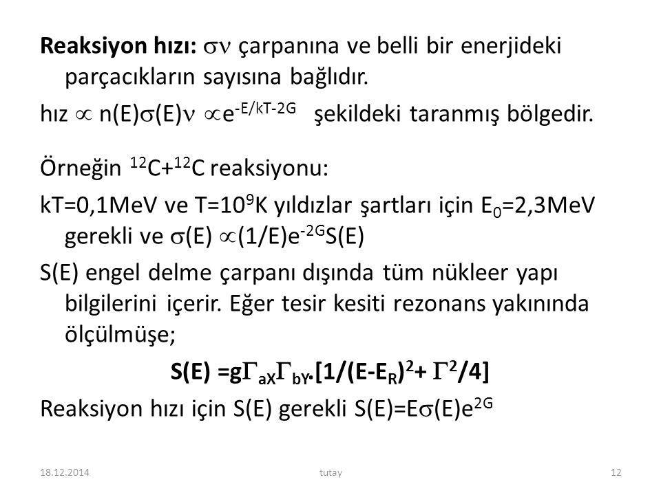Reaksiyon hızı:  çarpanına ve belli bir enerjideki parçacıkların sayısına bağlıdır. hız  n(E)  (E)  e -E/kT-2G şekildeki taranmış bölgedir. Örneği