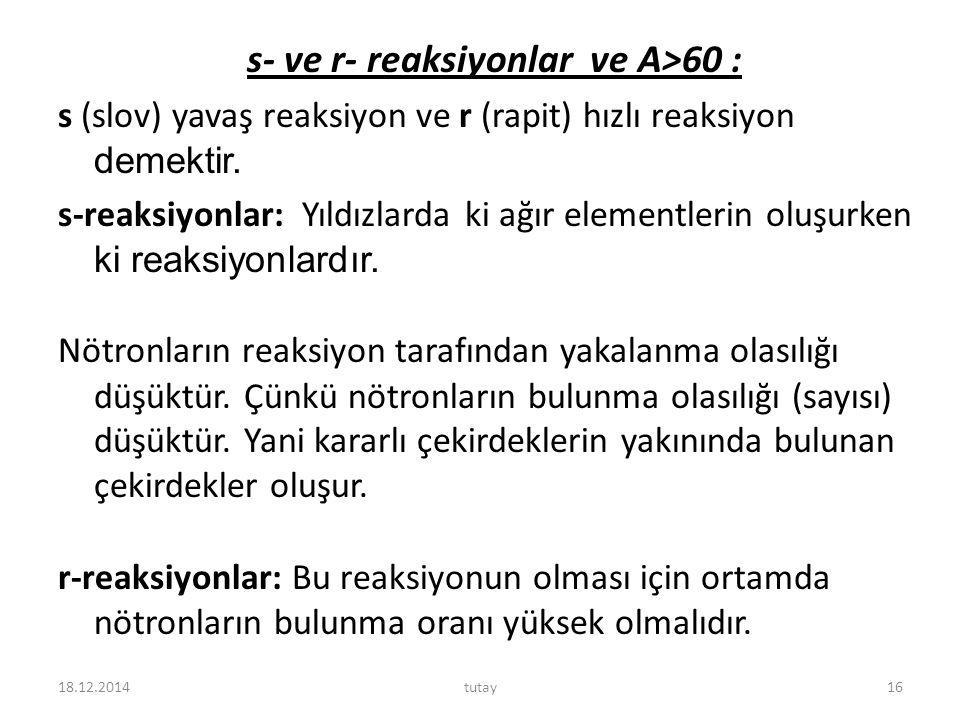 s- ve r- reaksiyonlar ve A>60 : s (slov) yavaş reaksiyon ve r (rapit) hızlı reaksiyon demektir.