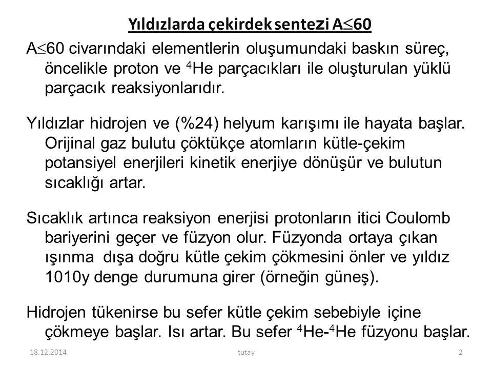 4 He- 4 He füzyonu için gerekli olan sıcaklık 1-2.