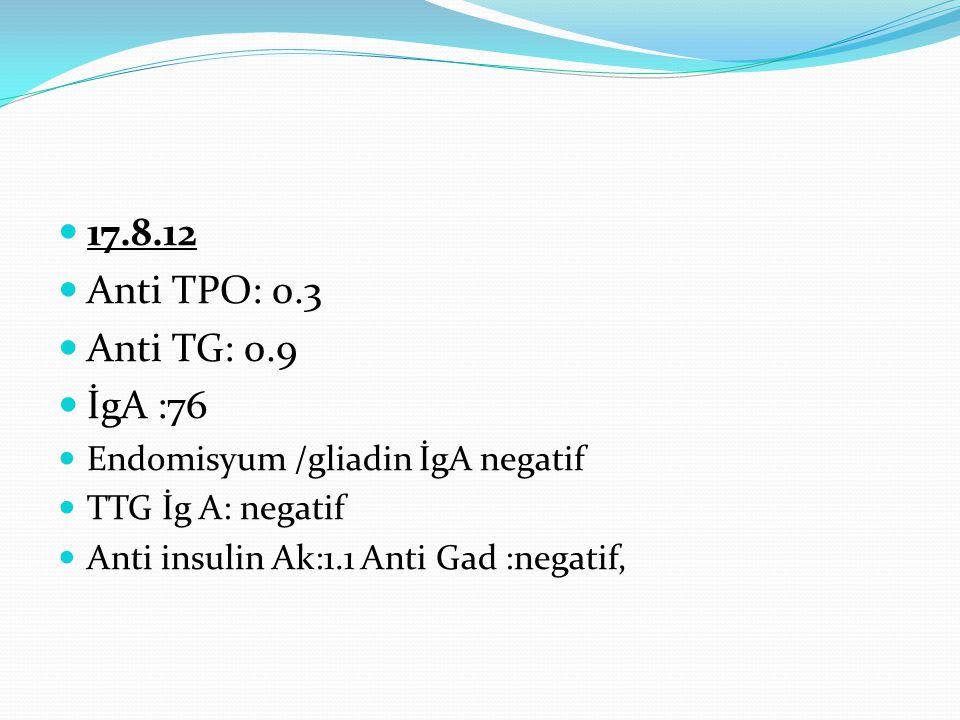 17.8.12 Anti TPO: 0.3 Anti TG: 0.9 İgA :76 Endomisyum /gliadin İgA negatif TTG İg A: negatif Anti insulin Ak:1.1 Anti Gad :negatif,